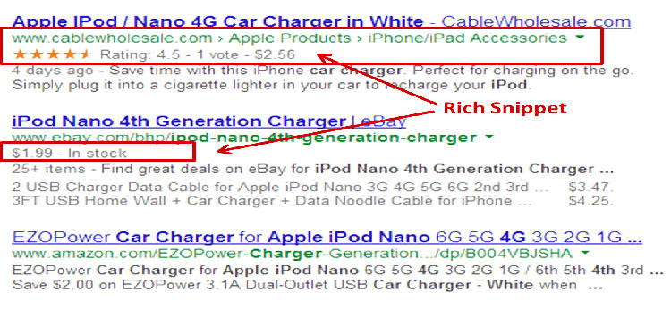 Rich snippets in Google